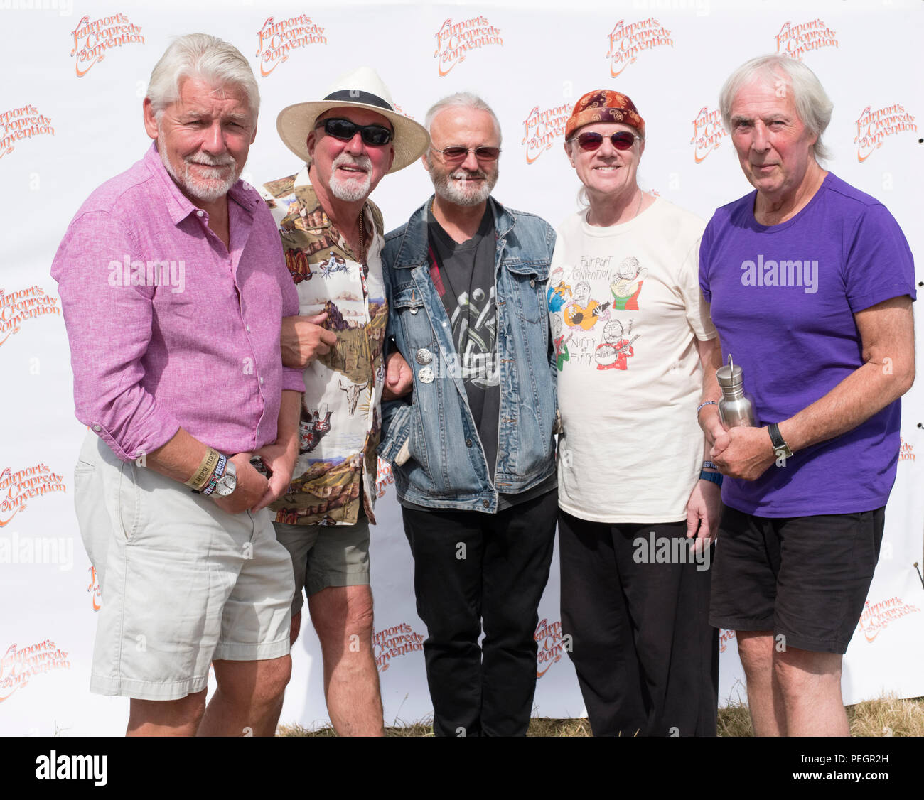 Fairport Convention backstage at Fairport's Cropredy Convention, England, UK. August 11, 2018 - Stock Image