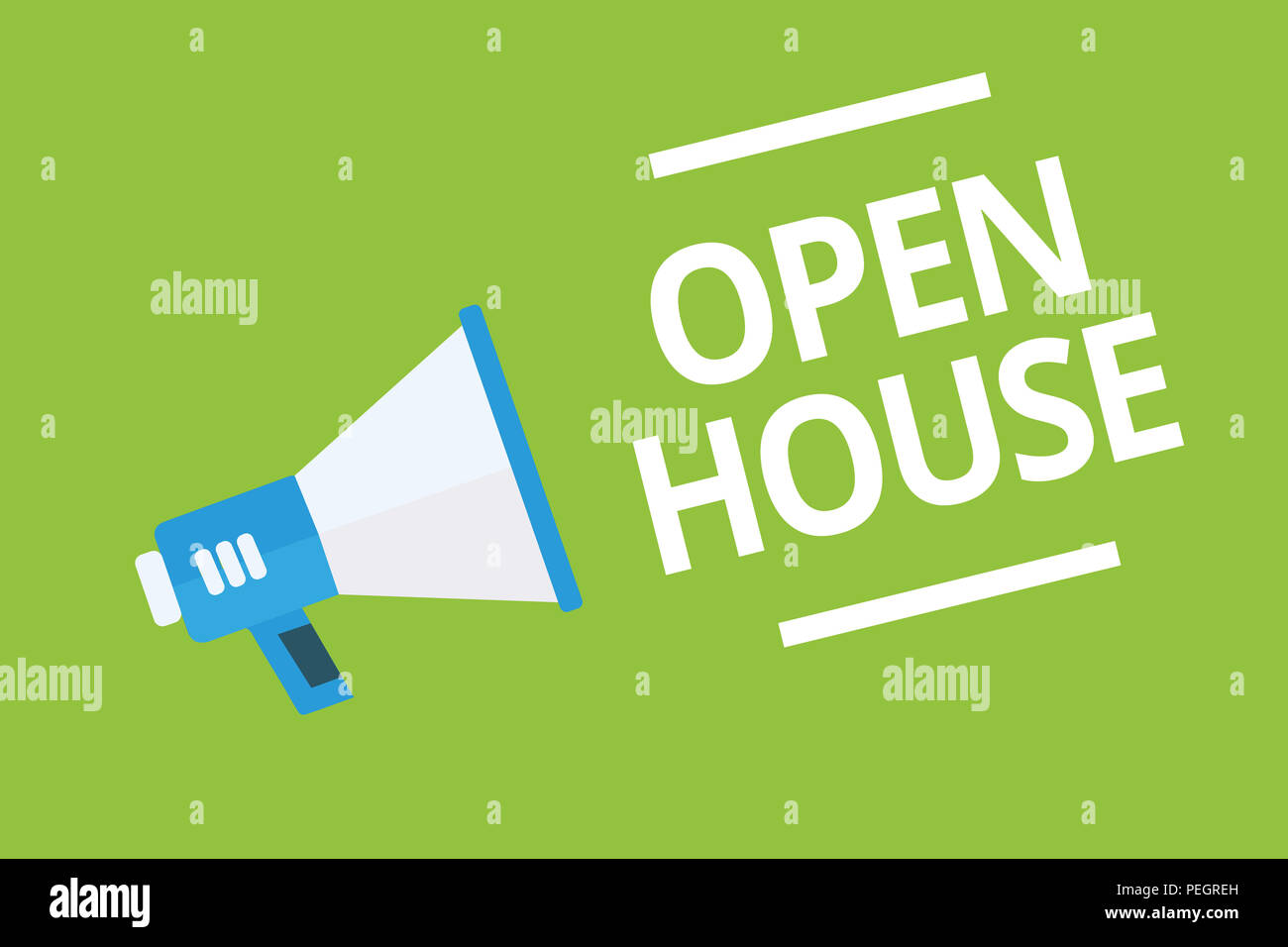 Handwriting text writing Open House. Concept meaning you can come whatever whenever want Make yourself at home Megaphone loudspeaker green background  - Stock Image