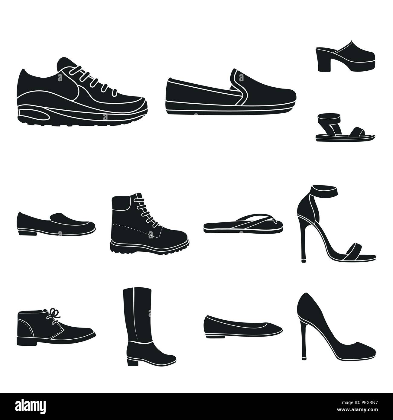 9b6c151e2efb A variety of shoes black icons in set collection for design. Boot, sneakers  vector symbol stock illustration.