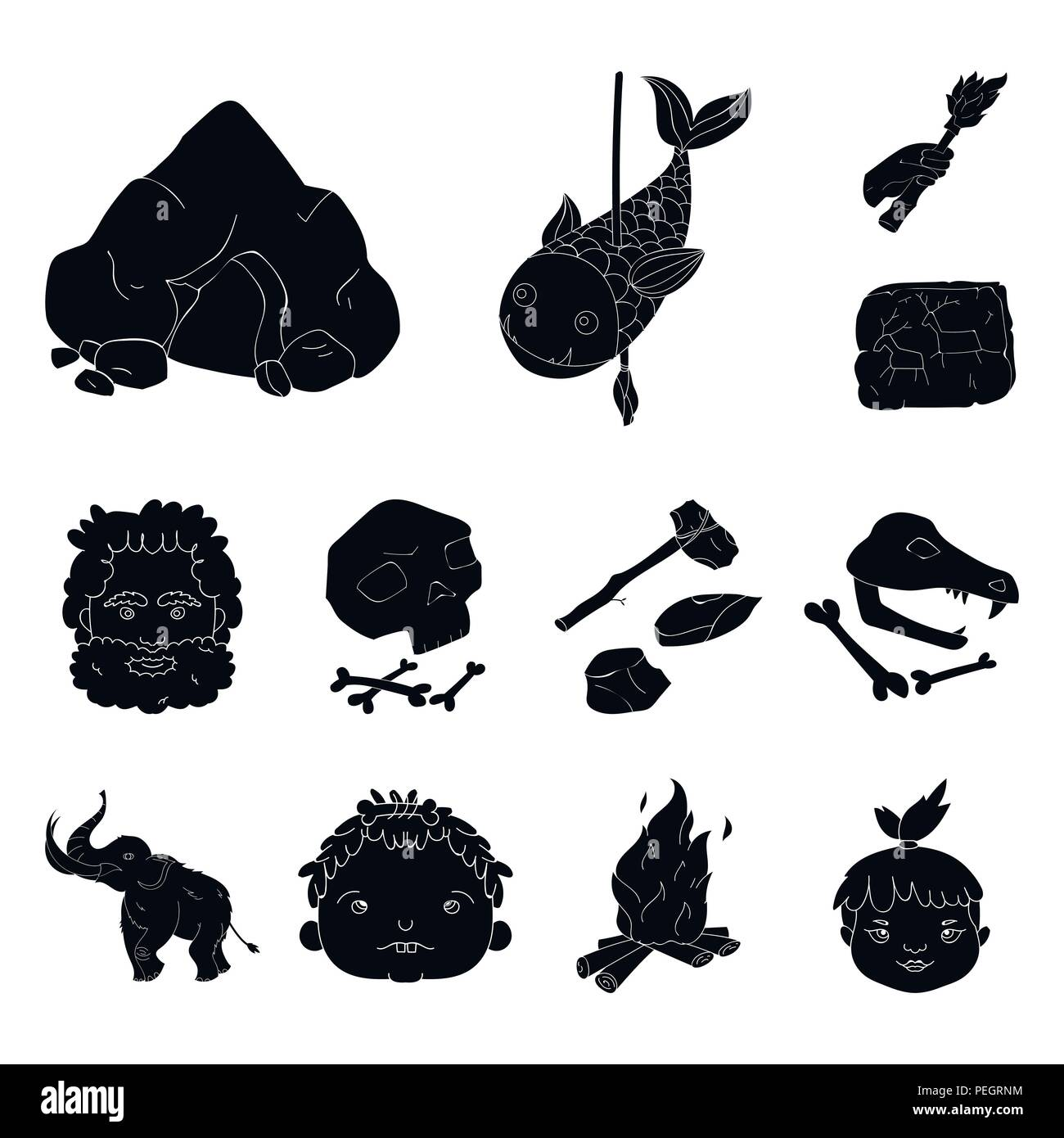 Life In The Stone Age Black Icons In Set Collection For Design