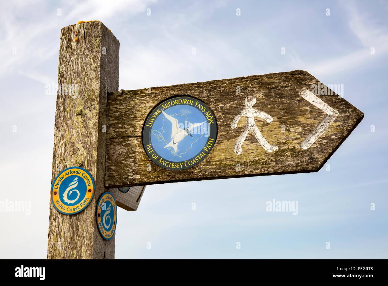 UK, Wales, Anglesey, Trearddur Bay, Isle of Anglesey Coastal Path signpost - Stock Image