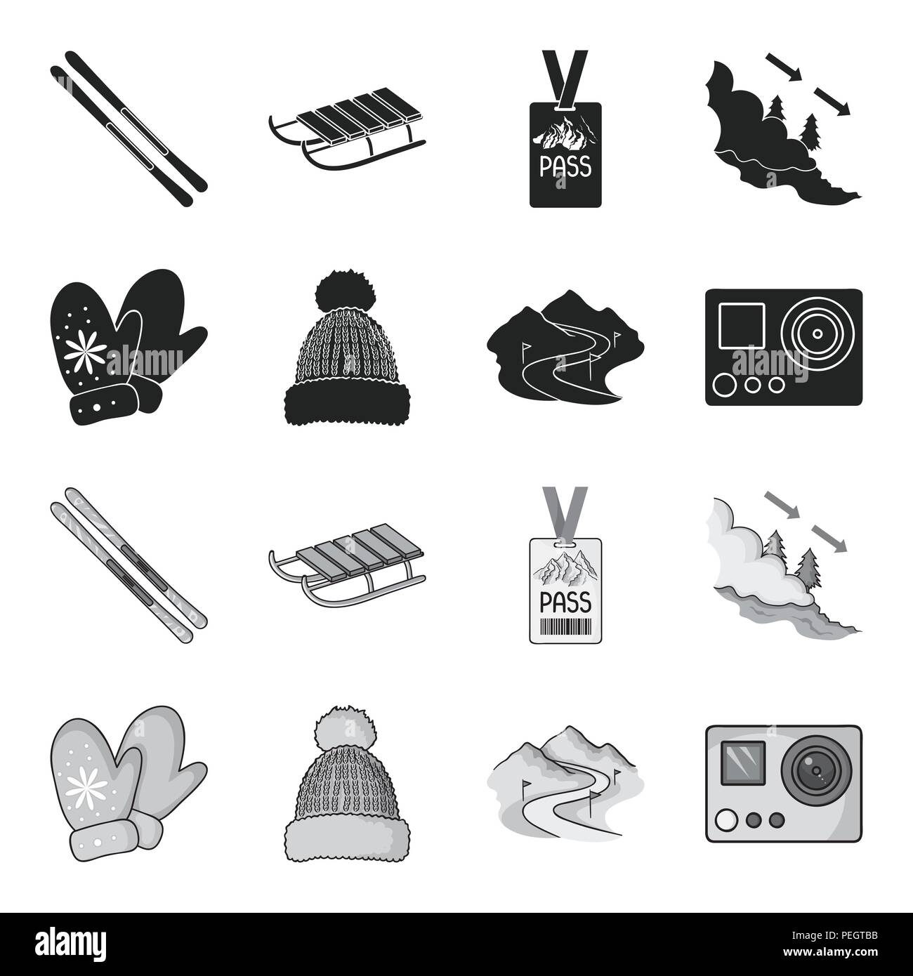 Mittens, warm hat, ski piste, motion camera. Ski resort set collection icons in black,monochrome style vector symbol stock illustration . - Stock Image