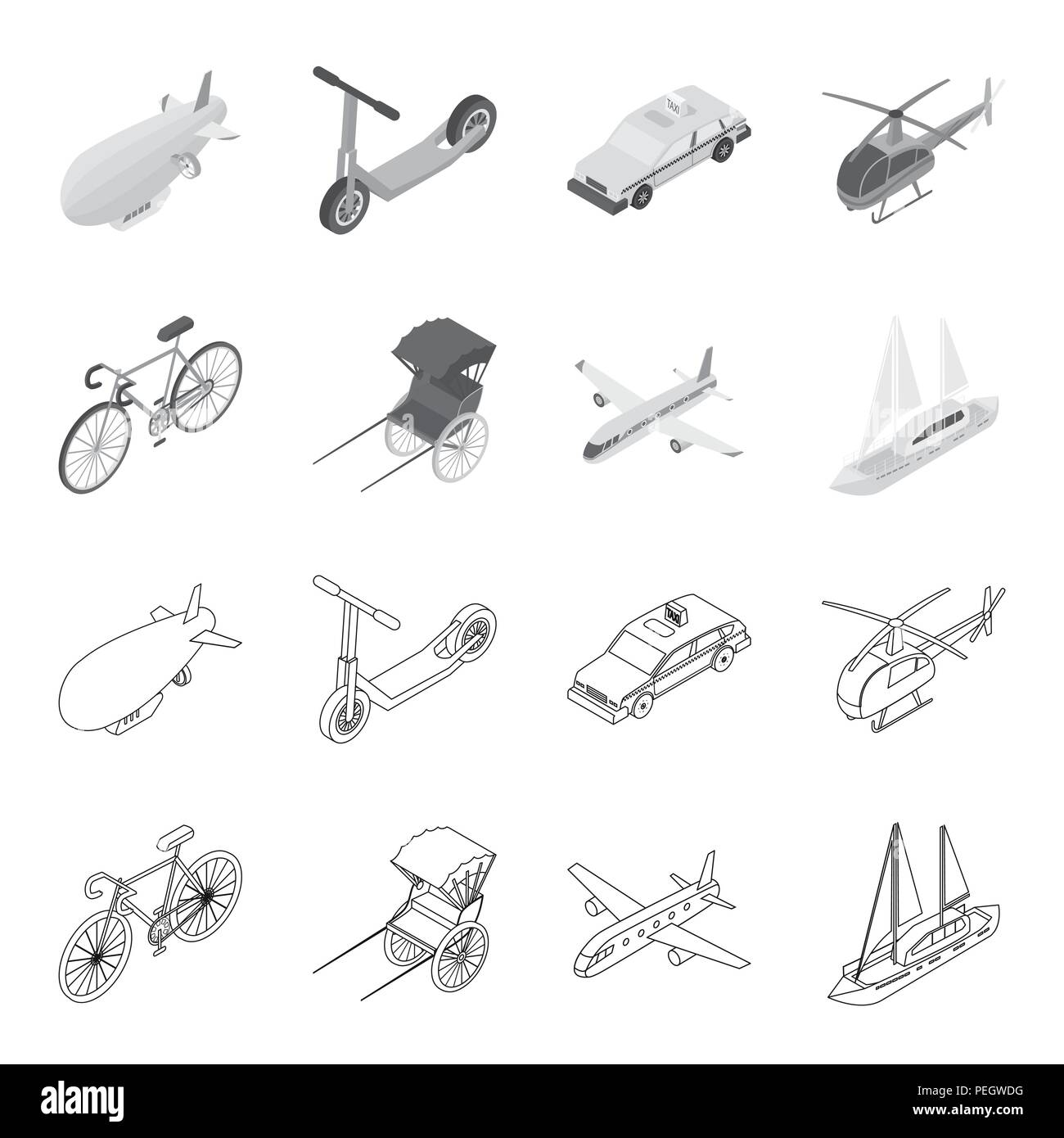 Bicycle, rickshaw, plane, yacht.Transport set collection icons in outline,monochrome style vector symbol stock illustration . Stock Vector