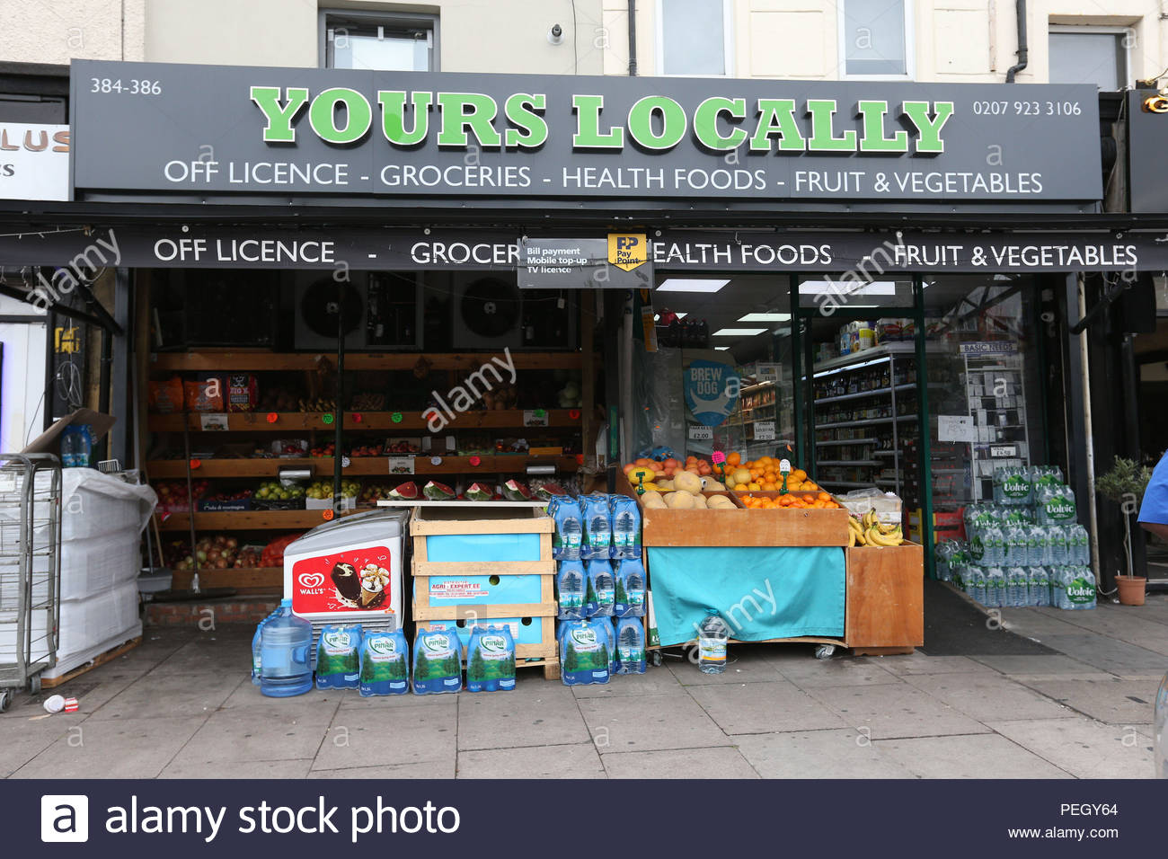 "File photo dated 23/07/17 of the Yours Locally shop in Kingsland Road, Dalston, east London. A police officer has been cleared of misconduct over the death of 20-year-old Rashan Charles who was restrained in an ""unorthodox"" way inside the shop. - Stock Image"