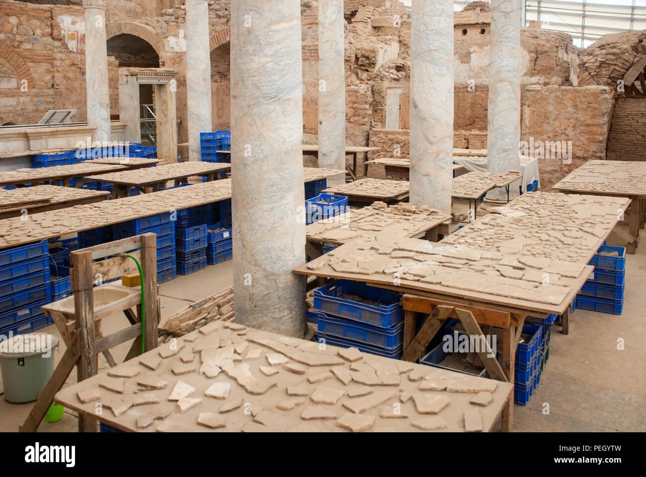 Restoration of archaeological findings in terrace houses, ephesus, izmir, turkey - Stock Image