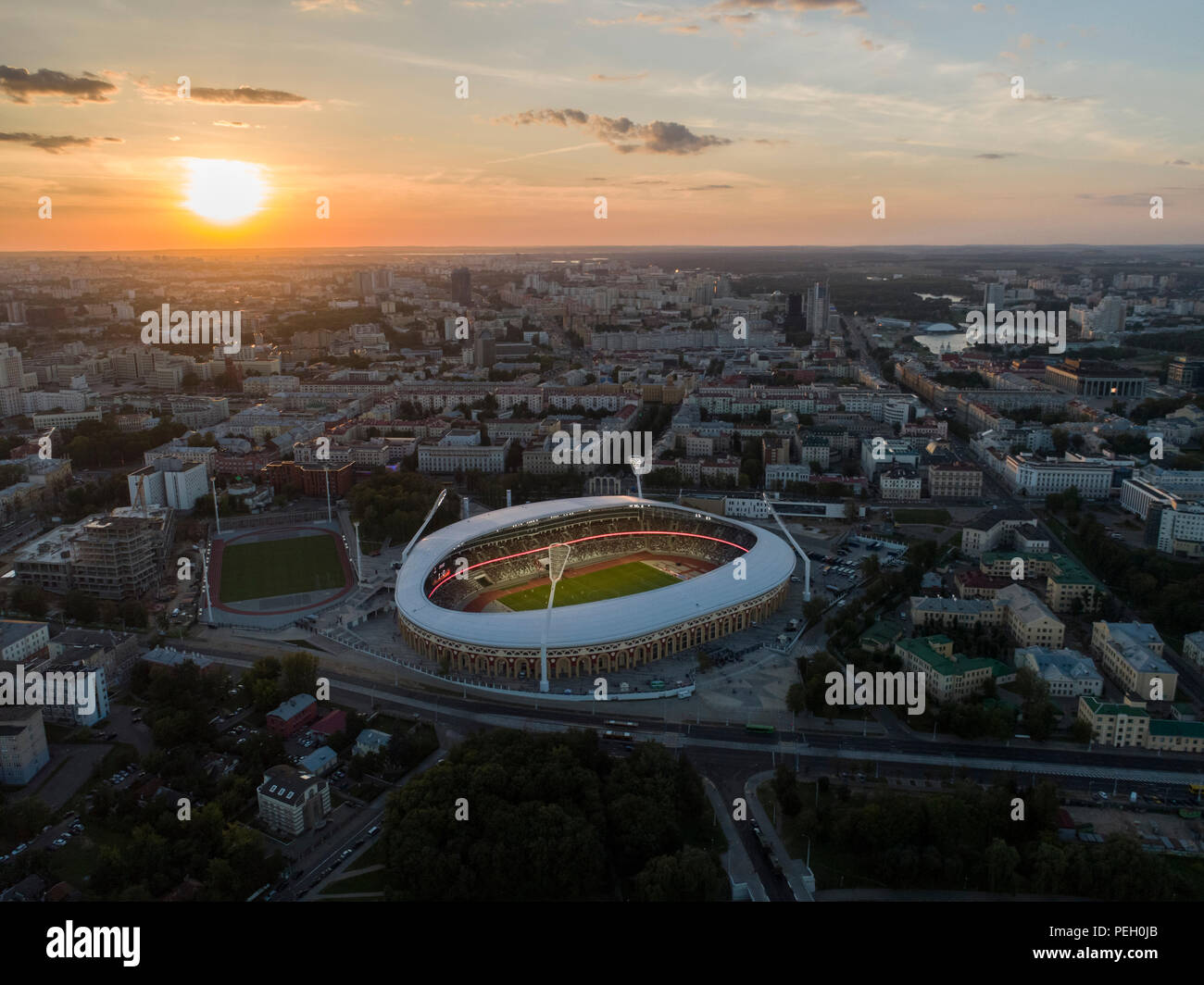 Minsk, Belarus, August 14 2018 - National Olympic Stadium Dinamo is a multi-purpose football and athletic stadium in Minsk, Belarus, reopened after a  - Stock Image