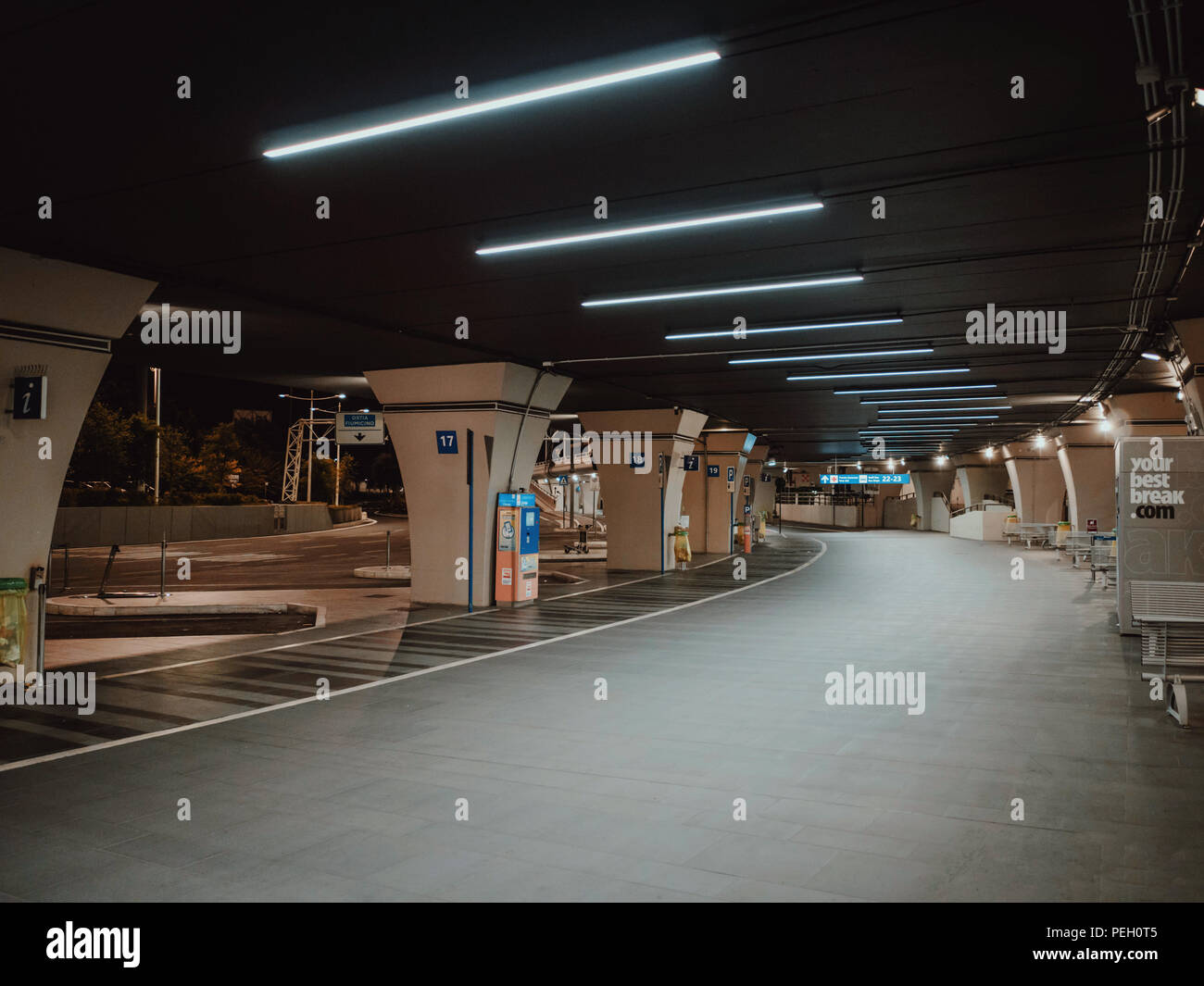 Rome, Italy - June 2018: bus station at Fiumicino international airport - Stock Image