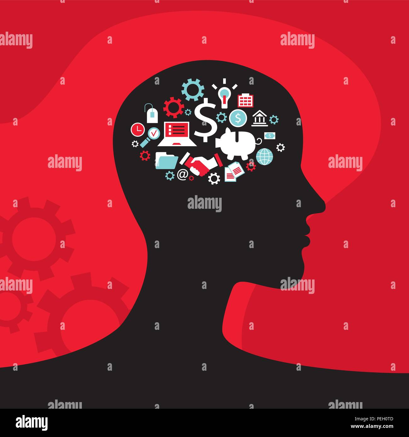 Infographics concept with head profile, brain, gears and business icons - Stock Vector