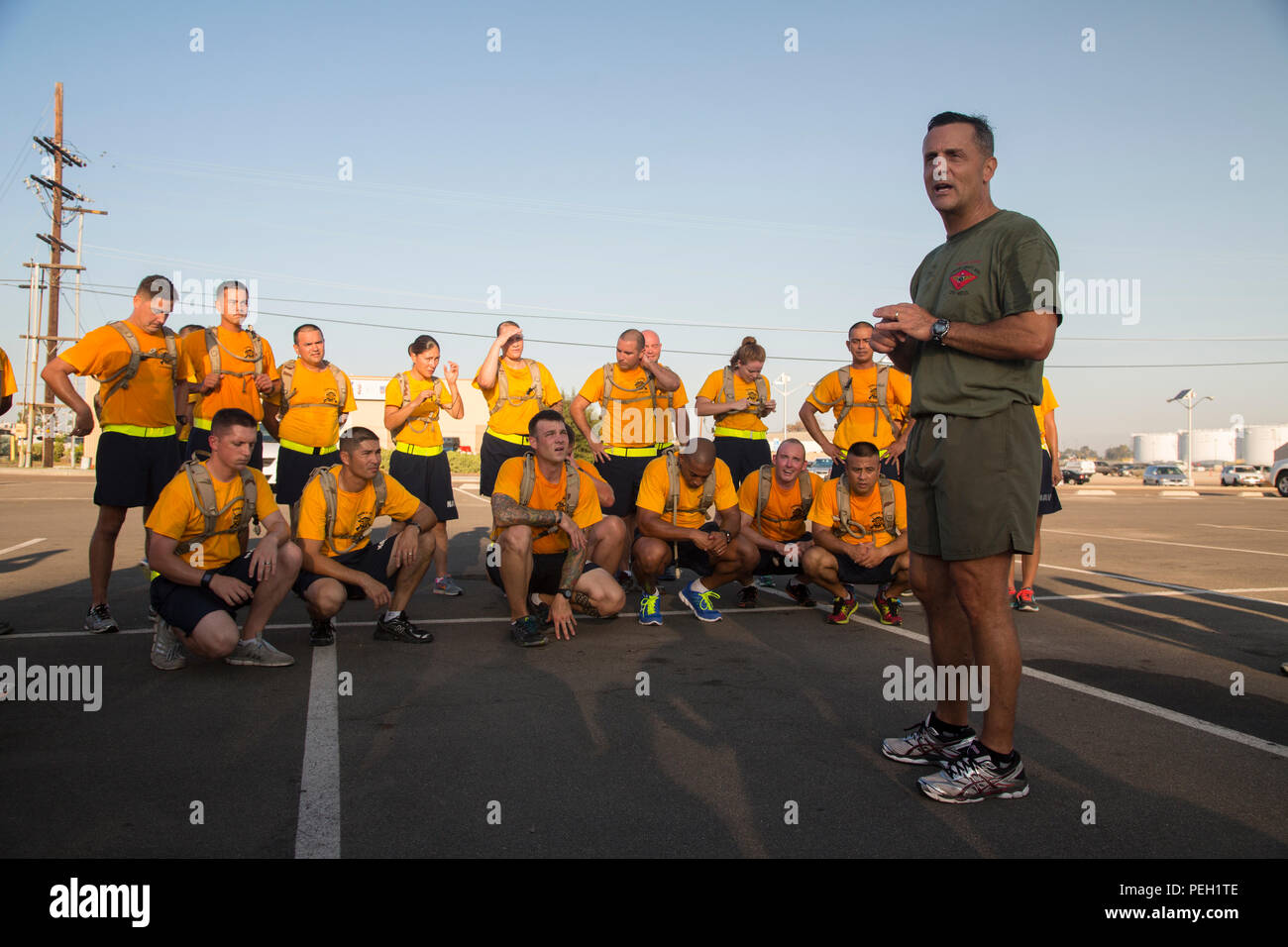 U.S. Marine Corps Maj. Gen. Michael Rocco, the commanding general of 3d Marine Aircraft Wing, gives his remarks after a run with all I Marine Expeditionary Force and Marine Corps Base Camp Pendleton Hospital Chief Petty Officer Selectees aboard Marine Corps Air Station Miramar, San Diego, Calif., Aug. 27, 2015. The run was conducted to build camaraderie and receive mentorship and guidance from the 3d MAW commanding general and assistant wing commander. (U.S. Marine Corps photo by Lance Cpl. Trever Statz/Released) - Stock Image