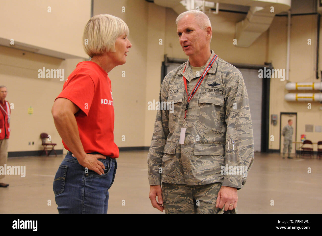 retired col penny dieryck former 148th fighter wing mission support group commander and american red cross volunteer speaks with brig gen