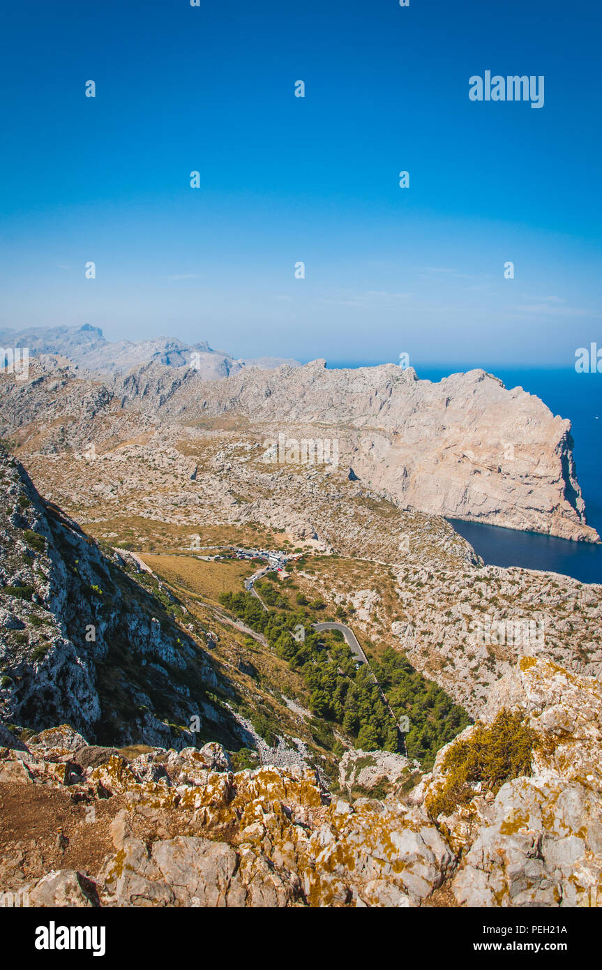 The imposing cliffs of Formentor cap in Majorca overlooking the Mediterranean Sea Stock Photo
