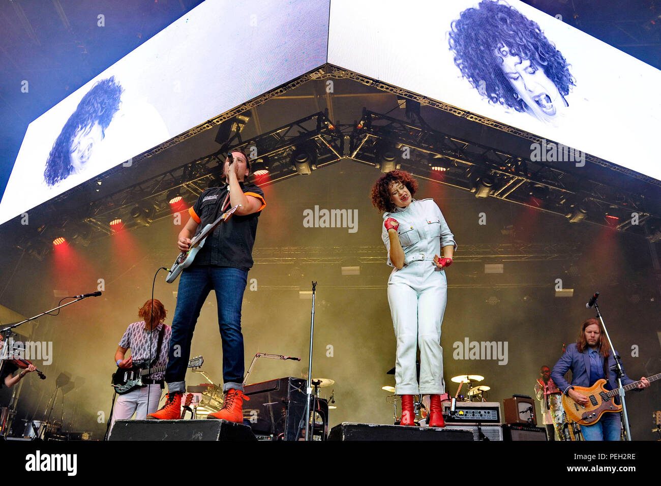 Berlin, Deutschland. 13th Aug, 2018. Richard Parry, Win Butler, Regine Chassagne and Tim Kingsbury of Arcade Fire live at the Citadel Music Festival on the Spandau Citadel. Berlin, 13.08.2018 | usage worldwide Credit: dpa/Alamy Live News - Stock Image