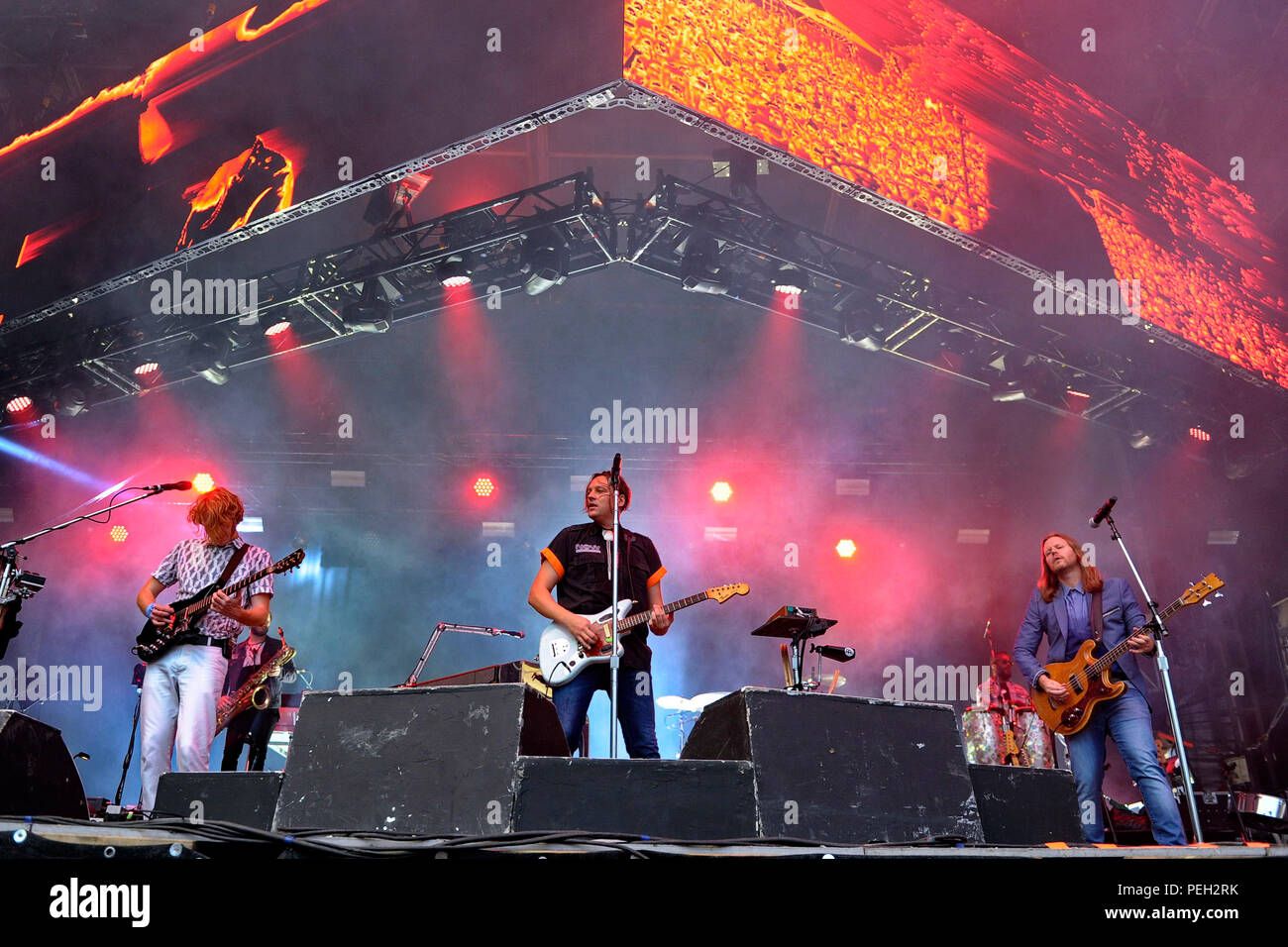 Berlin, Deutschland. 13th Aug, 2018. Richard Parry, Colin Stetson, Win Butler and Tim Kingsbury of Arcade Fire live at the Citadel Music Festival on the Spandau Citadel. Berlin, 13.08.2018 | usage worldwide Credit: dpa/Alamy Live News - Stock Image