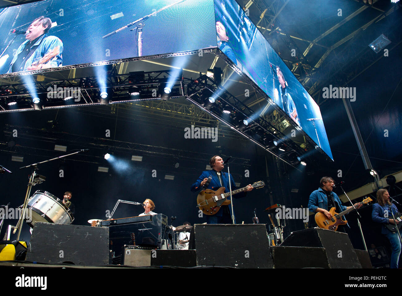 Berlin, Deutschland. 13th Aug, 2018. Colin Stetson, Richard Parry, Win Butler, William Butler and Tim Kingsbury of Arcade Fire live at the Citadel Music Festival on the Spandau Citadel. Berlin, 13.08.2018 | usage worldwide Credit: dpa/Alamy Live News - Stock Image