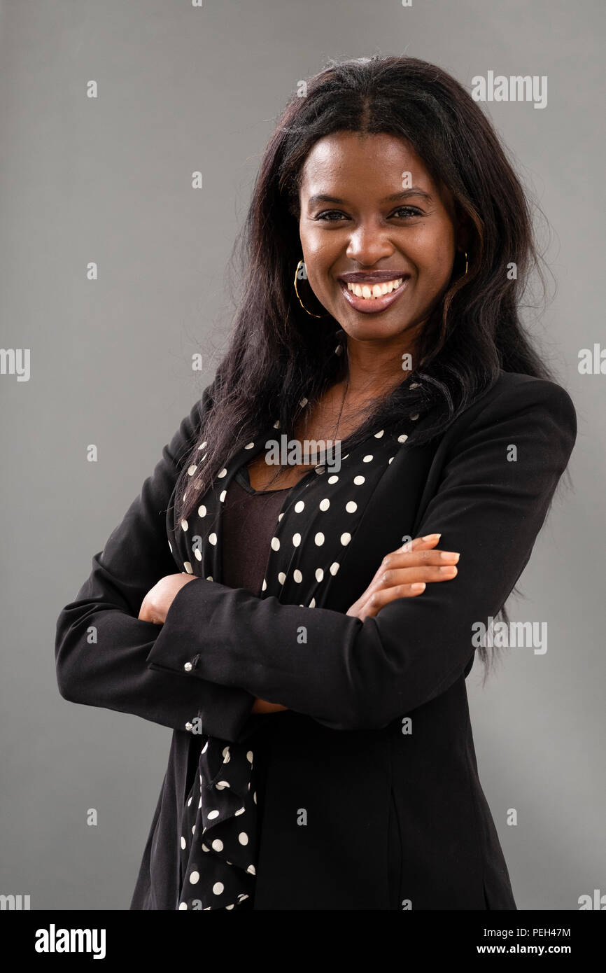 "Edinburgh, Scotland, UK; 15 August, 2018. Pictured;  Broadcaster June Sarpong. In her new book ""Diversify"" she makes case that actively seeking the unfamiliar is the key to a brighter future Credit: Iain Masterton/Alamy Live News Stock Photo"