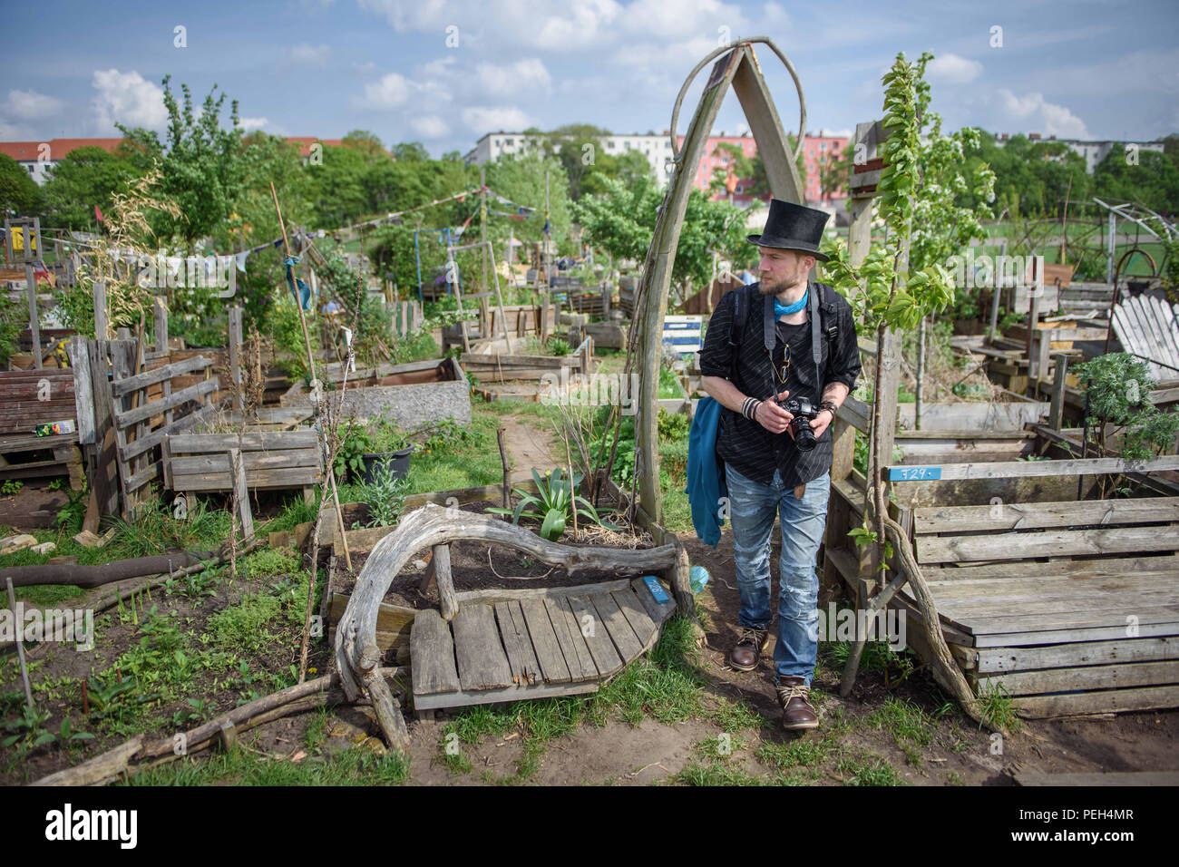 Berlin, Germany. 23rd Apr, 2018. Juha Järvinen is part of a social experiment trying out the concept of basic income. Here he poses in the communal gardens on the Tempelhofer Feld. Credit: Gregor Fischer/dpa/Alamy Live News - Stock Image