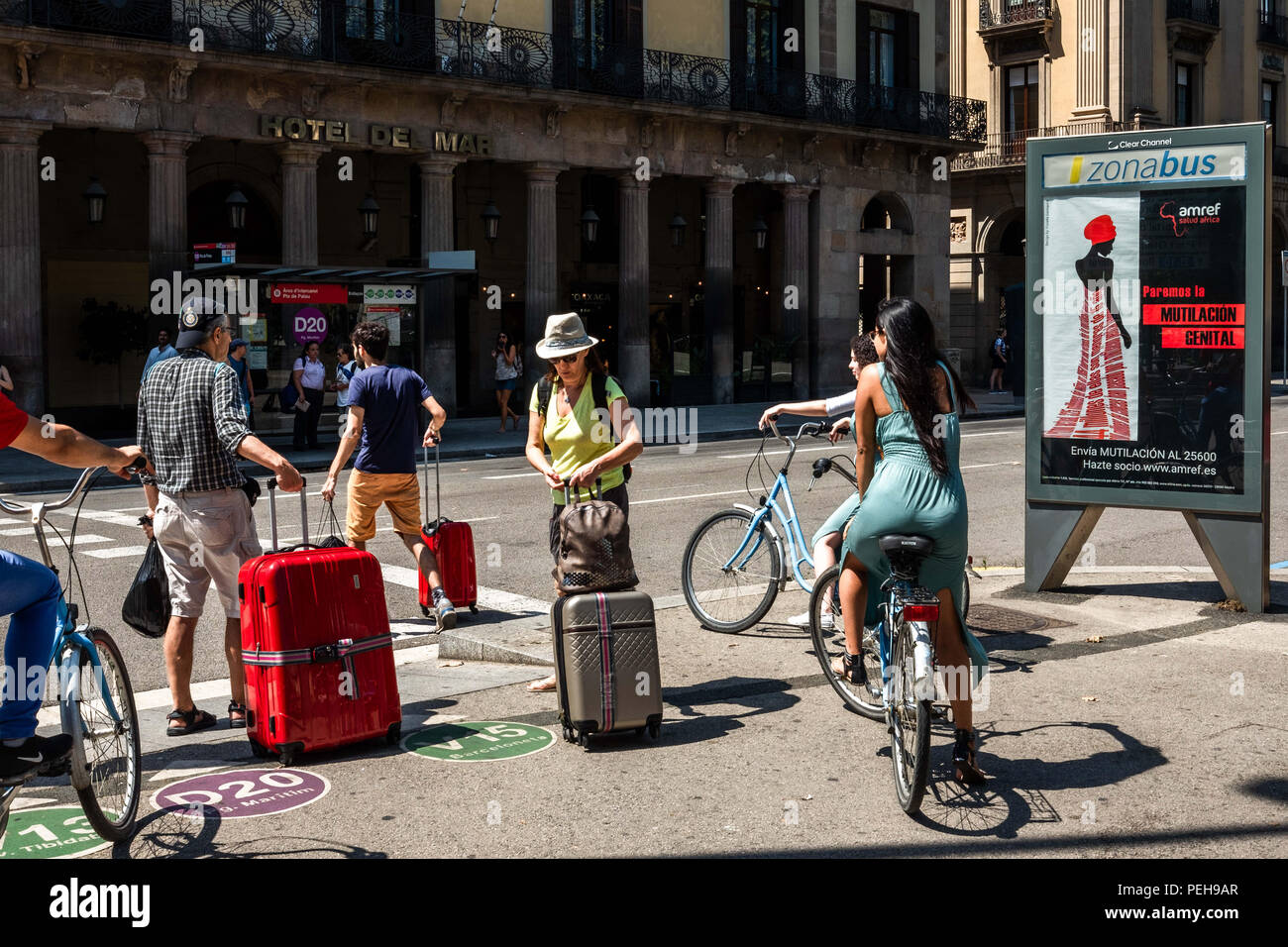 Barcelona, Catalonia, Spain. 15th Aug, 2018. A poster of the campaign against female genital mutilation is seen in Barcelona.Amref Health Africa, the largest international health organization of African origin and management, is launching a social awareness campaign against female genital mutilation in the streets of Barcelona. According to Unicef there are more than 200 million girls and women in 30 countries that have suffered partial or total removal of external genitalia. In Spain, it is estimated that more than 18,000 girls are at risk of suffering female genital mutilation (Credit I - Stock Image
