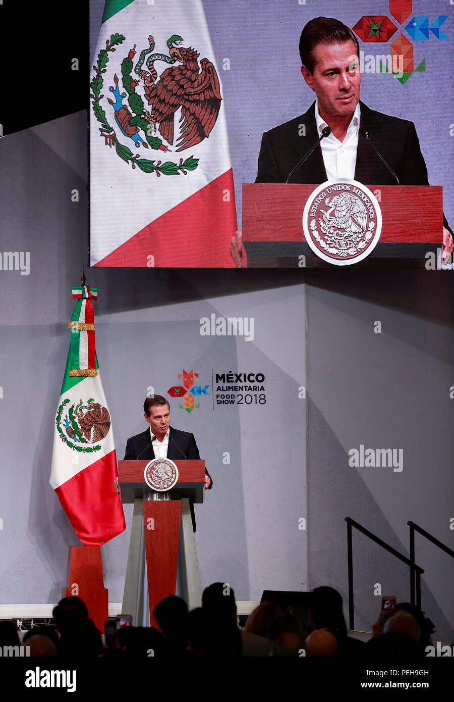 Mexican President Enrique Pena Nieto speaks during the inauguration of the Mexico Alimentaria Food Show 2018, in Mexico City, Mexico, 15 August 2018. Accordingo to Pena Nieto Mexico's agriculture and food products are exported to 170 countries, which he considered a way to consolidate the country as a wolrd power. EFE/Jose Mendez - Stock Image