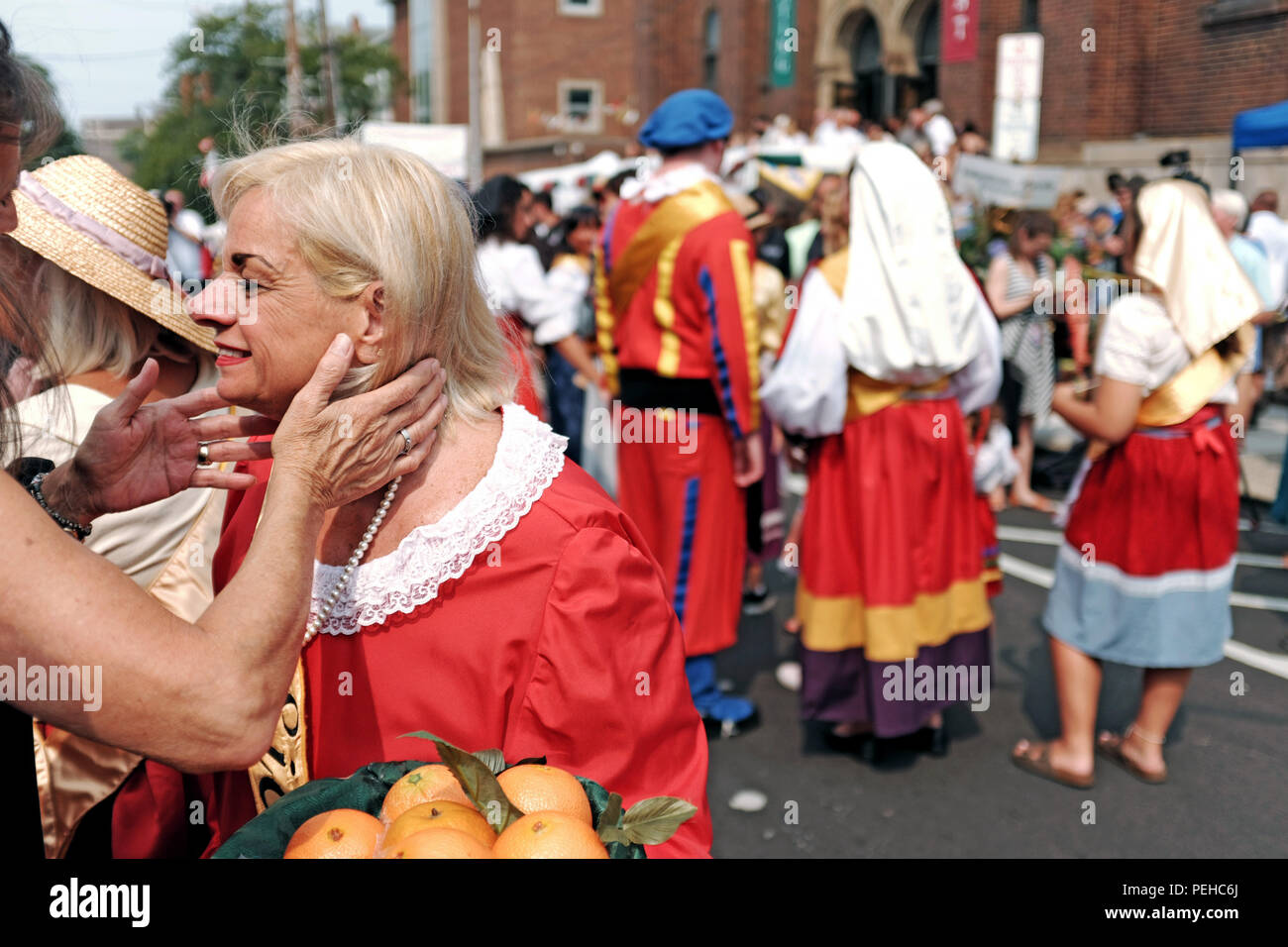 Sicilian woman stock photos sicilian woman stock images alamy a woman receives an italian greeting outside the holy rosary church where she is waiting to m4hsunfo