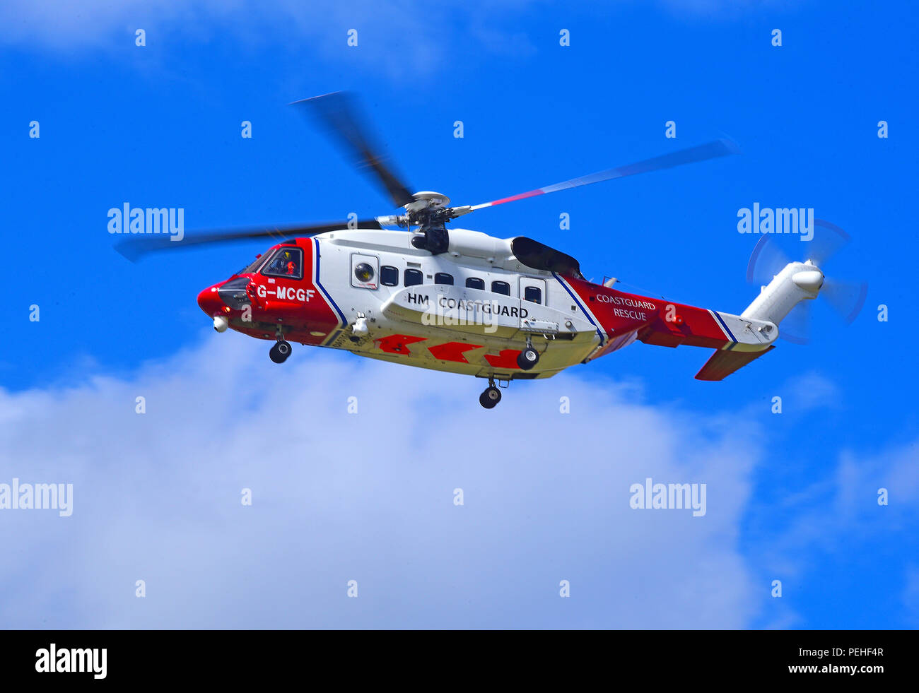 G-MCGF one of two maritime and search and rescue S-92 Helicopters based at Inverness to cover any SAR requirements in Northern Scotland. - Stock Image