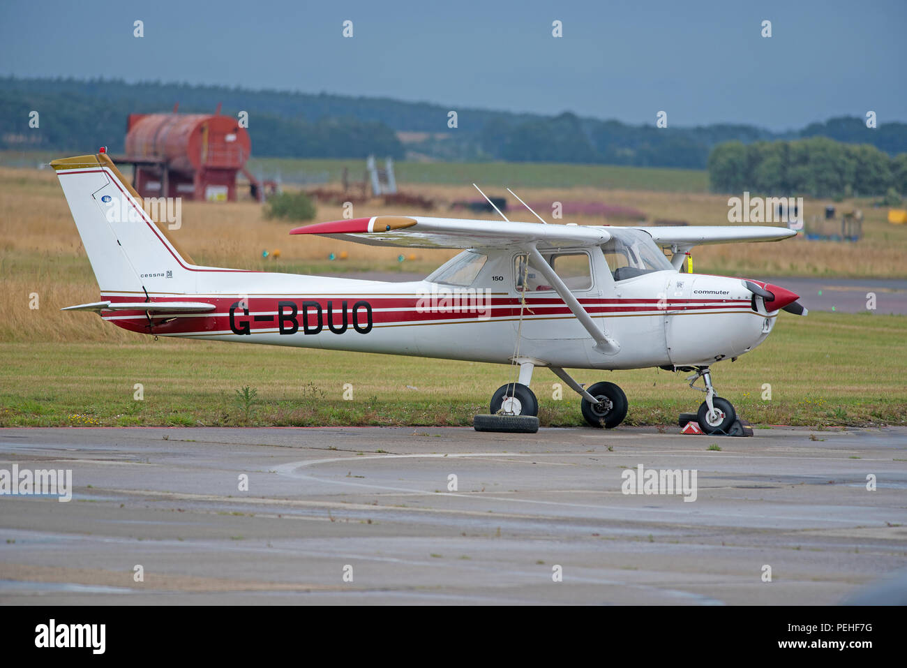 Reims F150 on a stop over at Inverness Airport in the Scottish Highlands UK. - Stock Image