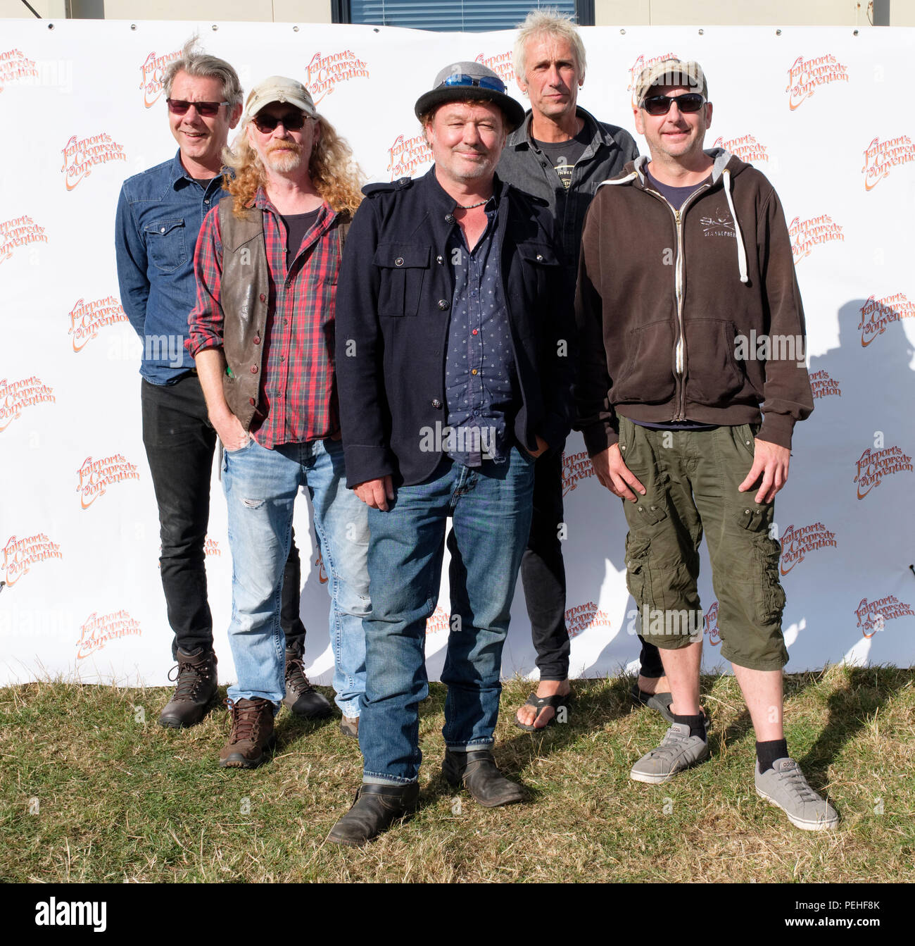 The Levellers backstage at Fairport's Cropredy Convention, England, UK. August 10, 2018 - Stock Image