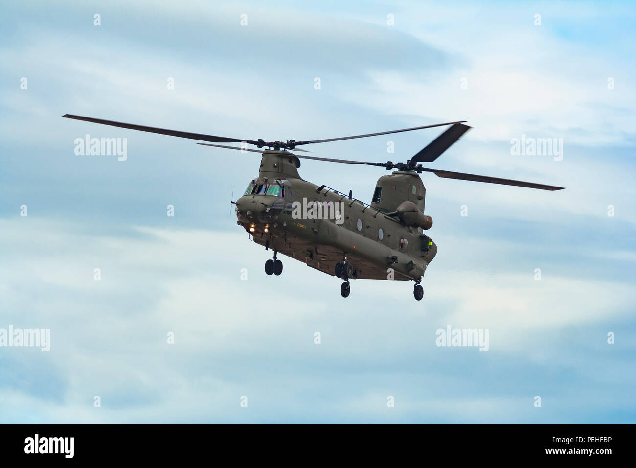 Royal Air Force Boeing CH-47 Chinook on display at Southport Air Show - Stock Image