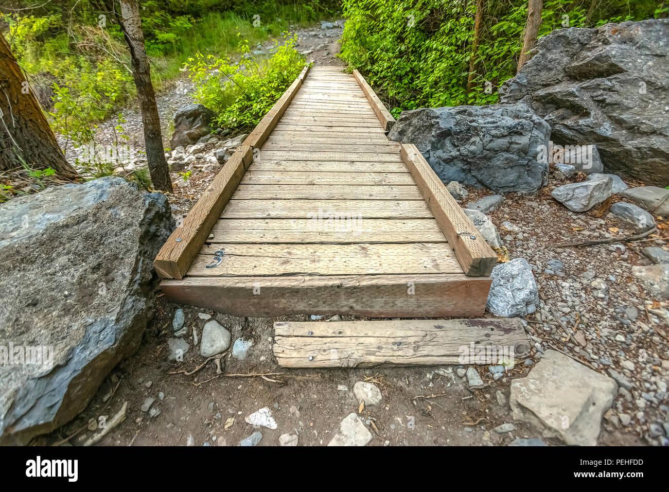 Wooden bridge with no rails over stream - Stock Image