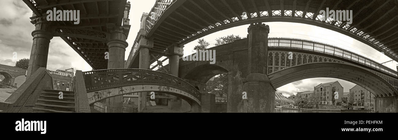 BW Cast Iron Railway Bridges, Castlefield, Manchester, North West England, UK, M3 4LZ - Stock Image