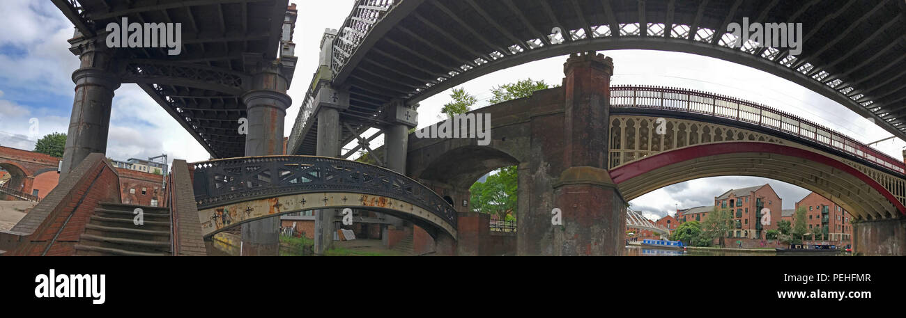 Cast Iron Railway Bridges, Castlefield, Manchester, North West England, UK, M3 4LZ - Stock Image