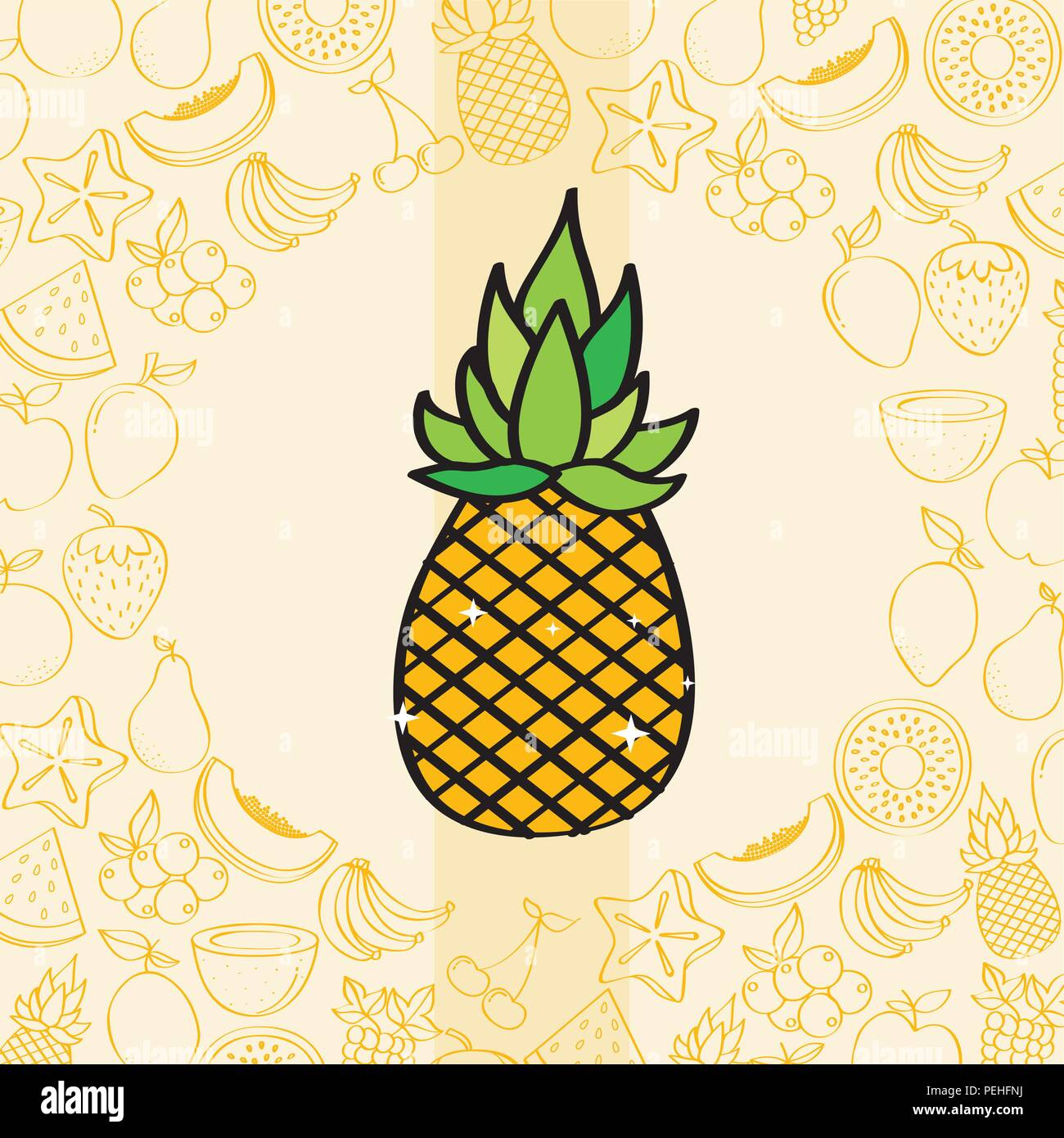 Pineapple Fruits Nutrition Background Pattern Drawing Color Stock Vector Image Art Alamy