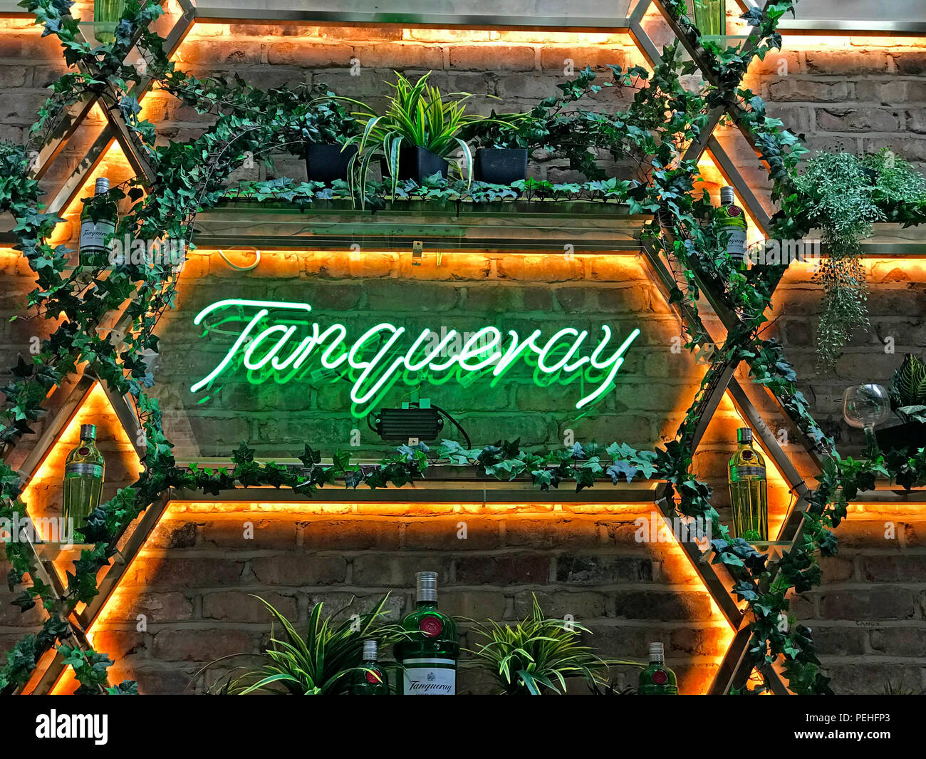 Tarqueray Gin display, Dukes 92, Castlefield, Manchester, North west England,Uk - Stock Image