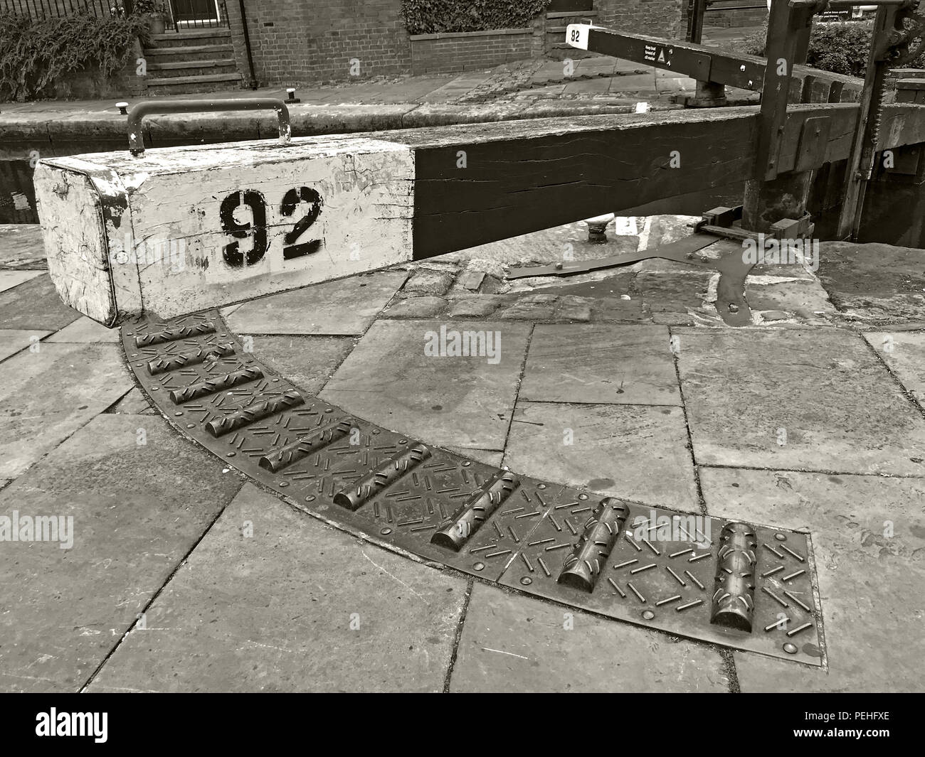 Lock 92, Rochdale Canal, Castlefield, Manchester, North West England, UK, M3 4LZ in Black & White - Stock Image
