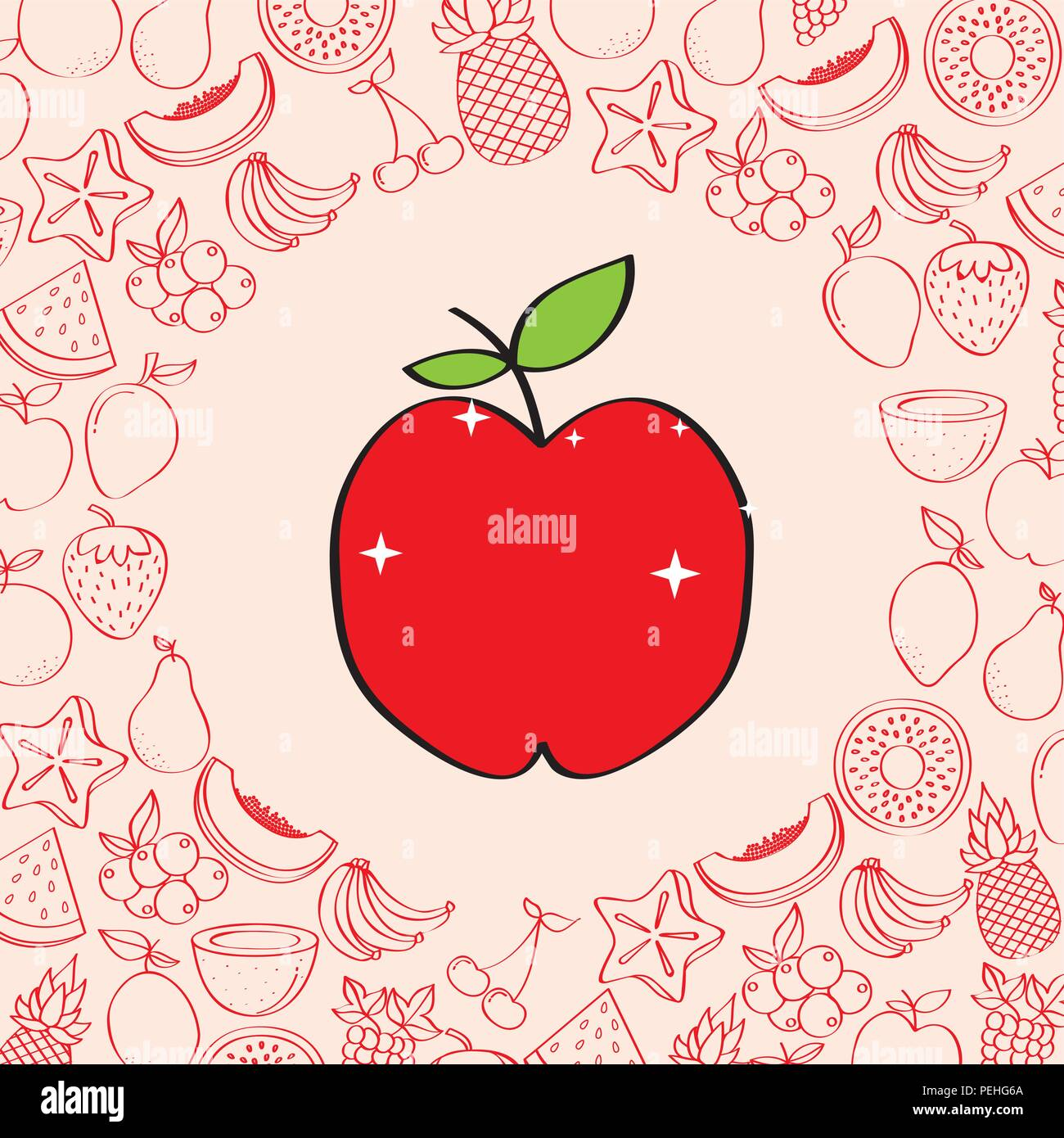 Apple Fruits Nutrition Background Pattern Drawing Color Stock Vector Image Art Alamy
