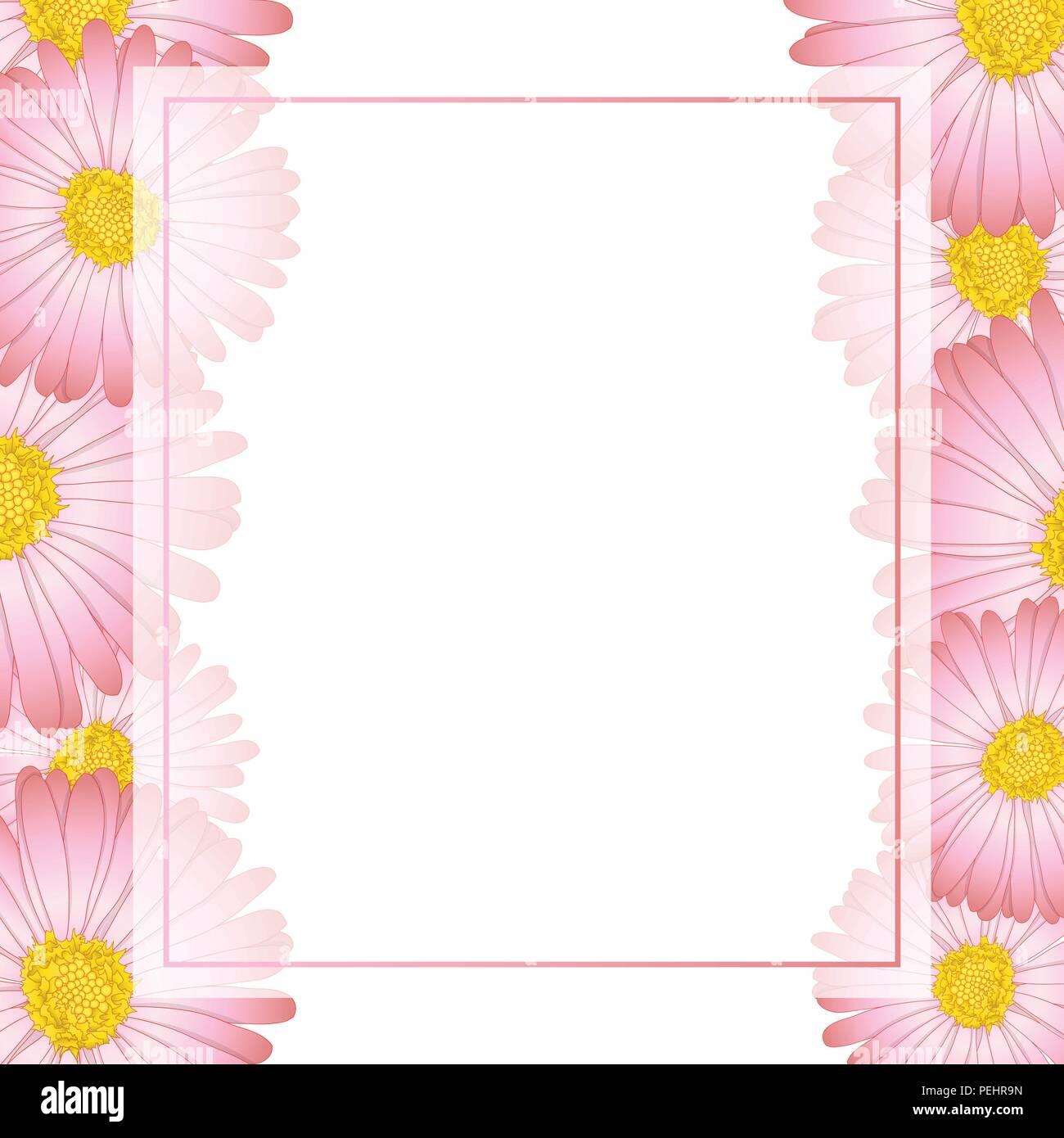 Pink aster daisy flower banner card border vector illustration pink aster daisy flower banner card border vector illustration izmirmasajfo