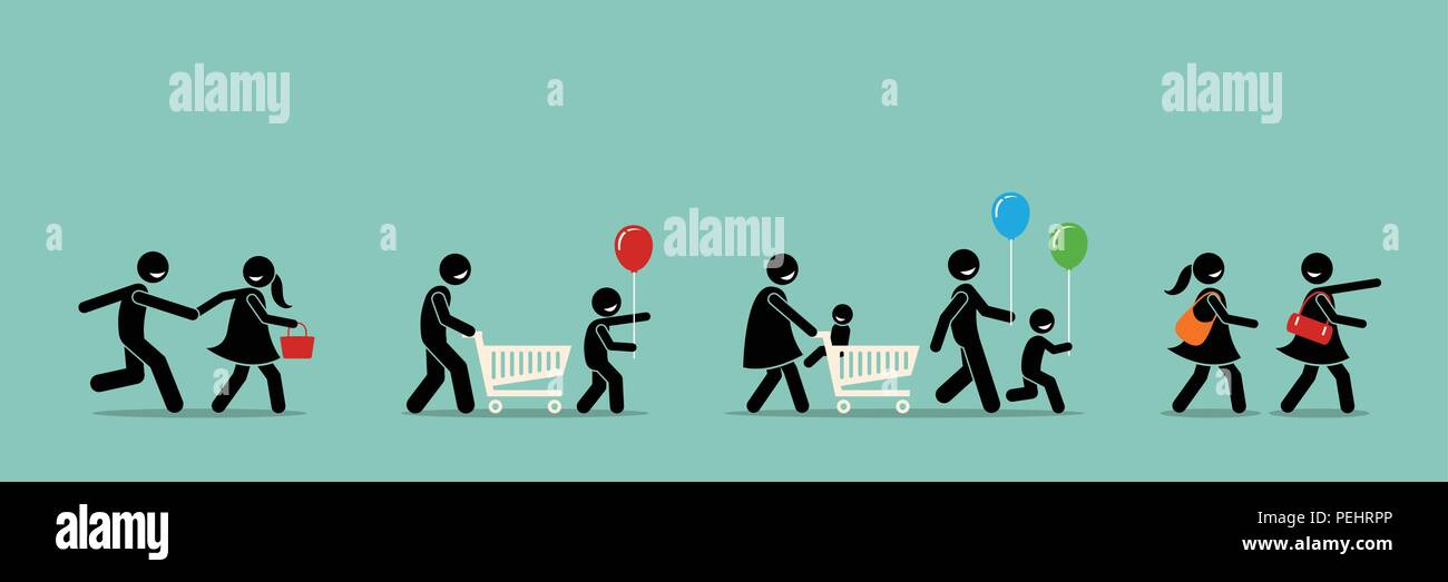 People going to shopping mall. - Stock Vector