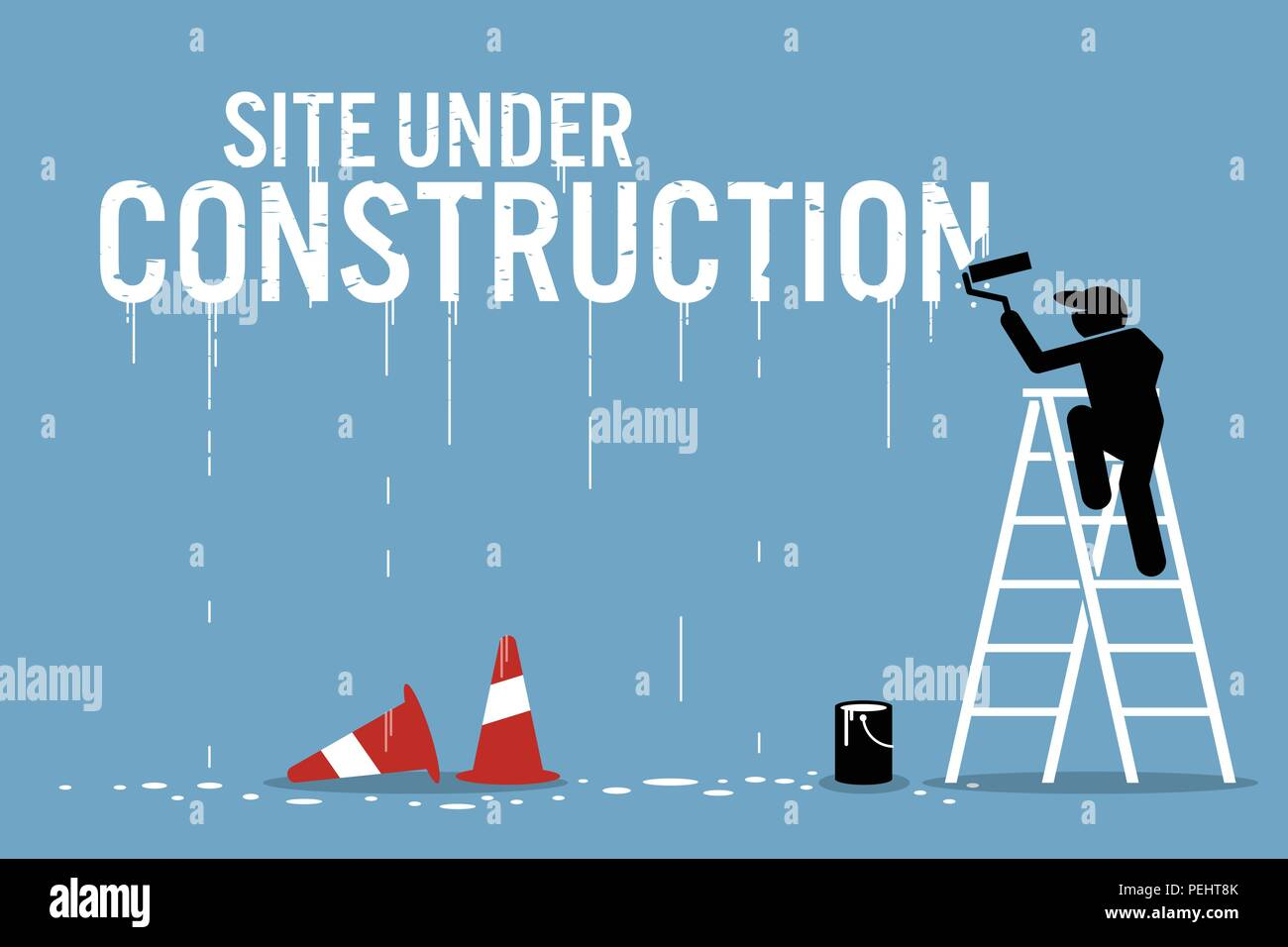 Vector artwork depicts work in progress. - Stock Vector