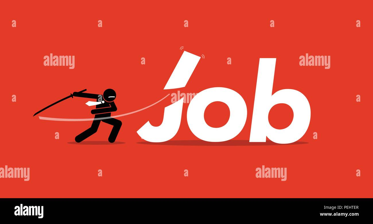 Vector artwork depicts retrenchment, reducing manpower, company downsizing, and employee layoffs. - Stock Vector