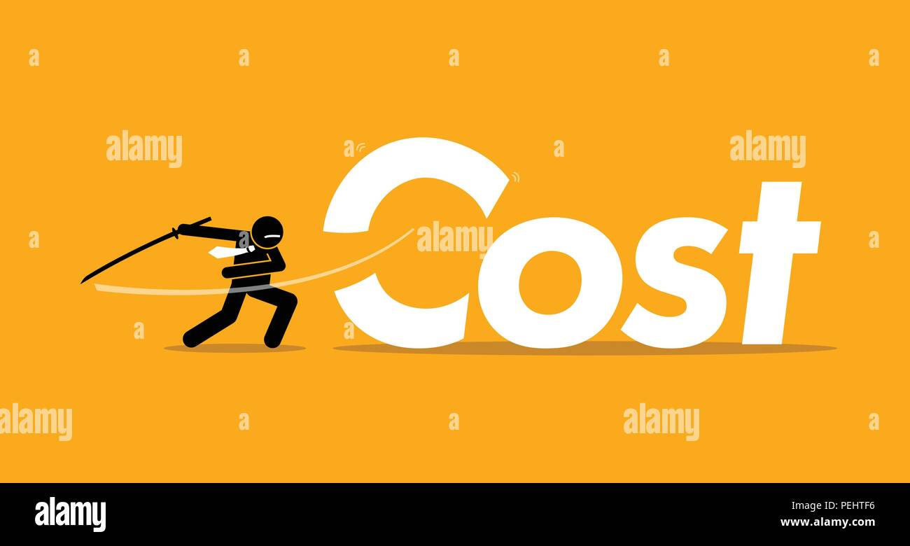 Vector artwork depicts inflation, reducing expenses, and profit improvement. - Stock Vector