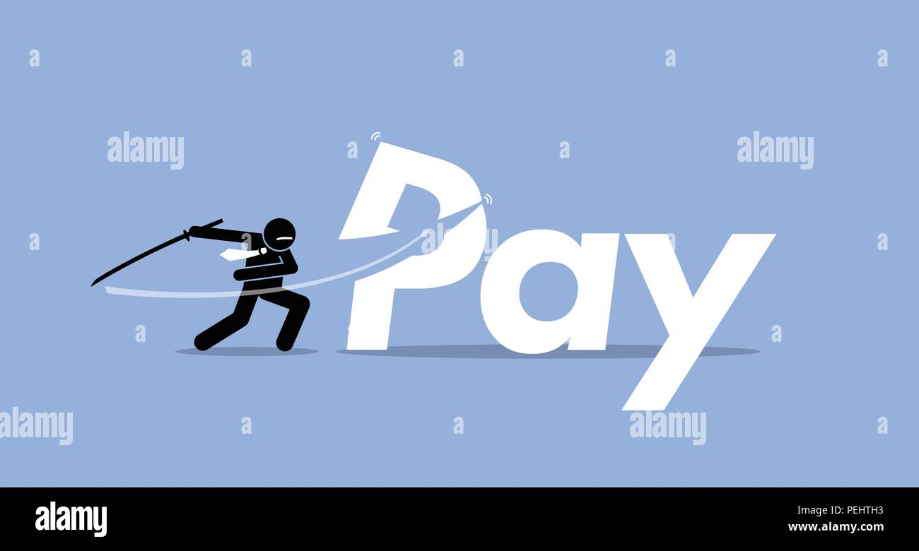 Vector artwork depicts salary cut, bonus reduction, less payroll. - Stock Vector