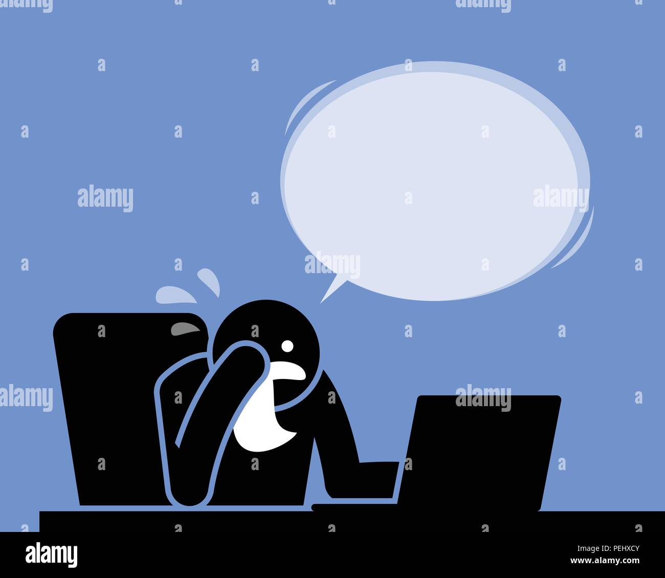 He must have read something sad, depressing, and heartbreaking from the Internet. - Stock Vector