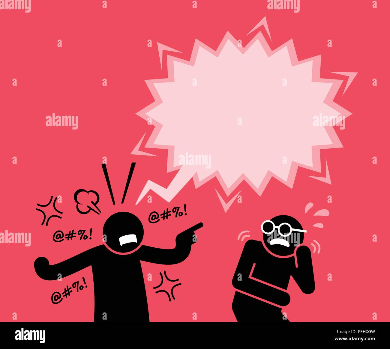 He is blaming and accusing him for wrongdoing. His friend is scared by his reaction. - Stock Image