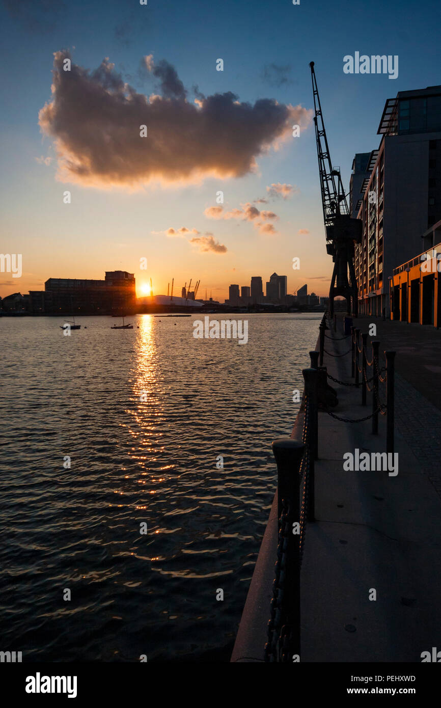 Sunset over London Docklands - Stock Image