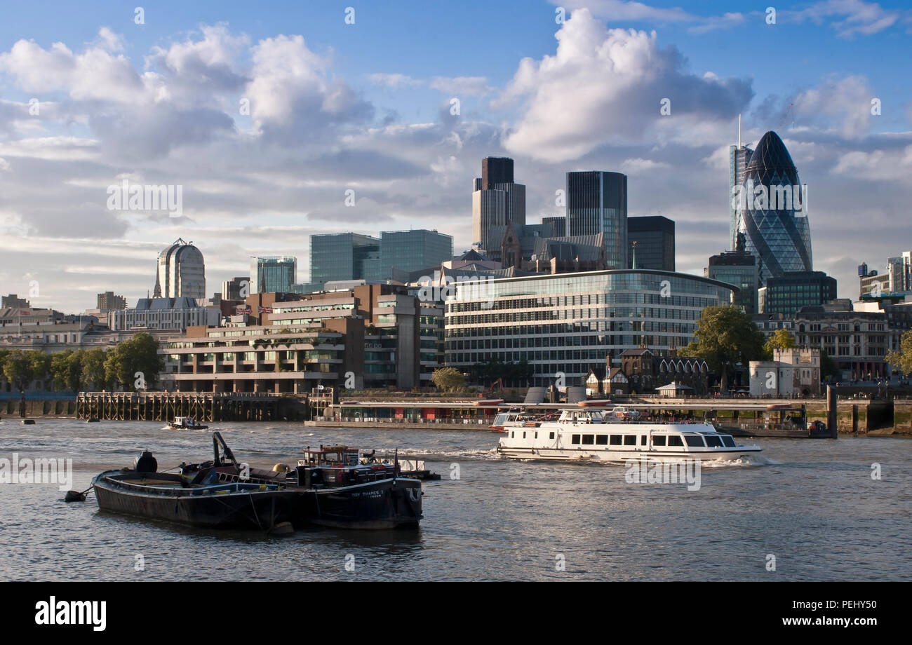 Looking across the River Thames to Londond Financial District - Stock Image