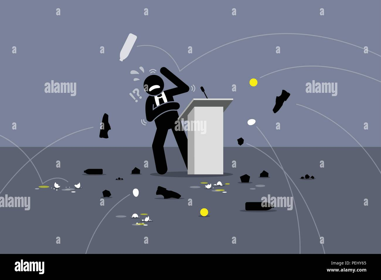 People throwing objects and things at the speaker on the stage. Vector  artwork depicts angry people, protesters, poor stage performance, and bad  polit Stock Vector Image & Art - Alamy