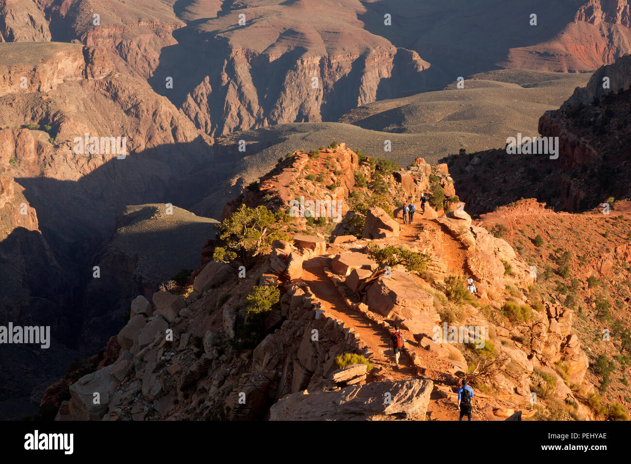 AZ00278-00...ARIZONA - Early morning hikers on the South Kaibab Trail in Grand Canyon National Park. - Stock Image