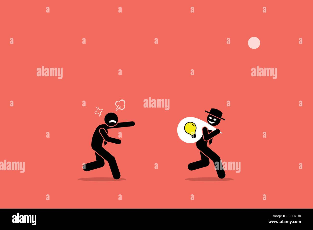 Vector artwork illustration depicts the concept of business thief, copyright infringement, plagiarism , bad person, dishonest, underhand, and cheater. - Stock Image