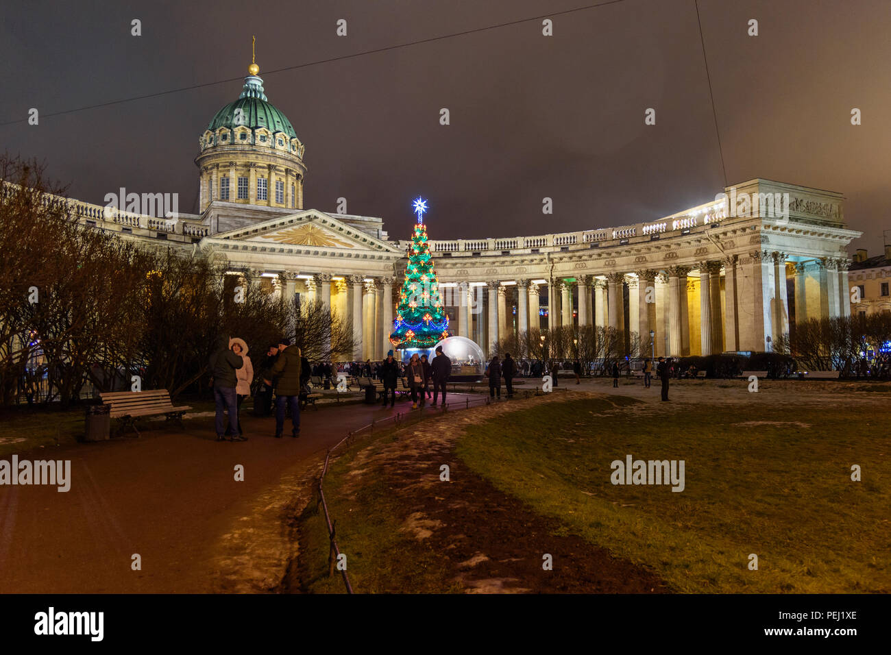 Saint Petersburg, Russia - January 3, 2018: View of Kazan Cathedral Sobor and Christmas Tree on Palace at night Stock Photo