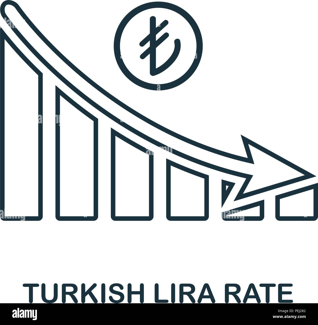 Turkish Lira Rate Decrease Graphic icon. Mobile app, printing, web site icon. Simple element sing. Monochrome Turkish Lira Rate Decrease Graphic icon  Stock Vector
