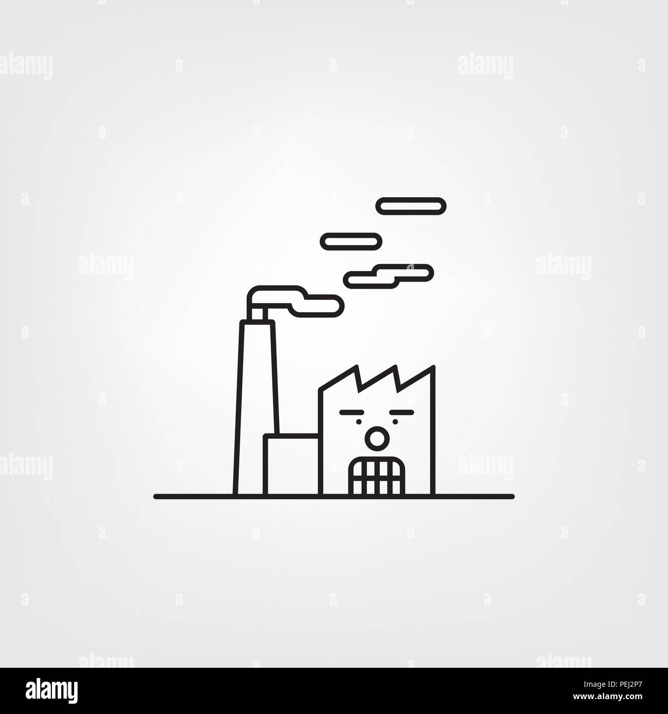 Factory building with angry face and smoking chimney. Pollution and unsustainable industry symbol - Stock Vector